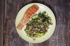 salmon rice broccoli dish