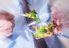 eaten, salad, plastic fork, sir is eating