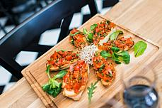 bruschetta salad wine board